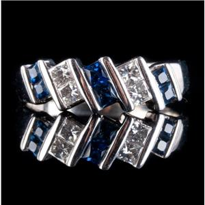 14k White Gold Princess Cut Sapphire & Diamond Cocktail Ring .68ctw