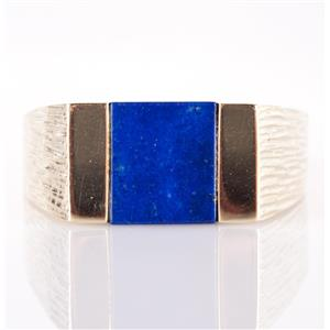 14k Yellow Gold Square Cut Lapis Lazuli Solitaire Ring W/ Etched Band