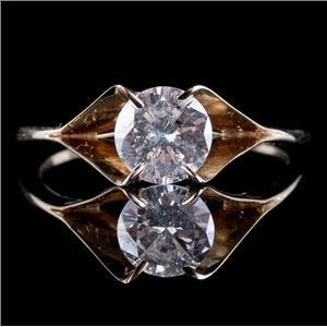 14k Yellow Gold Round Cut Diamond Solitaire Engagement Ring .88ct