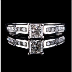 Platinum Princess Cut Diamond Solitaire Engagement Ring W/ Accents .73ctw