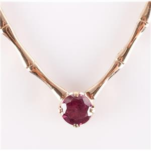 "14k Yellow Gold Round Cut Rhodolite Garnet Solitaire Necklace 1.70ctw 16"" Length"