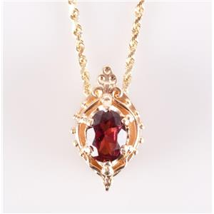 14k Yellow Gold Oval Cut Rhodolite Garnet Solitaire Charm On Necklace 1.50ct