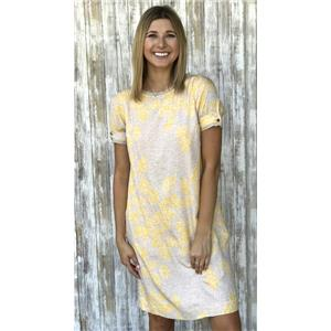 Size 2 Tory Burch Connor Grey/Yellow Printed Textured Silk Short Sleeve Dress