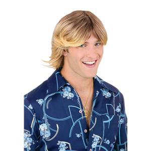 Fun World Men's Blonde Brown Mixed 70s Ladies Man Surfer Adult Costume Wig