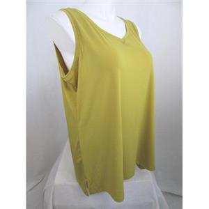 Susan Graver Size 1X Liquid Knit Tank with a Feminine V-neckline in Chartruese