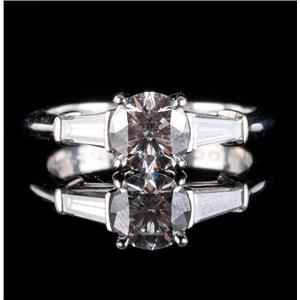 Tiffany & Co Platinum Diamond Solitaire Engagement Ring W/ Accents 1.47ctw
