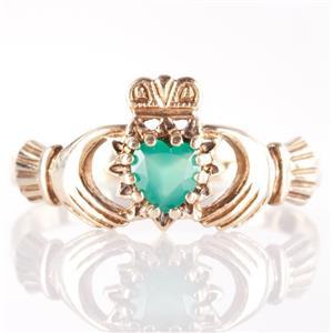 10k Yellow Gold Heart Cut Emerald Irish Made Traditional Claddagh Ring .22ct