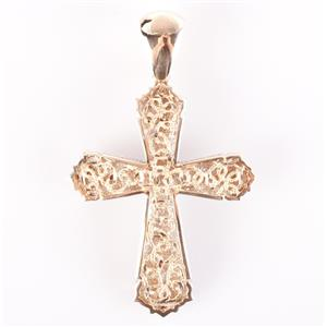 14k Yellow & White Gold Two Tone Cross Slide Pendant / Enhancer 9.3g