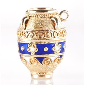 Vintage 1960's 14k Yellow Gold Enamel Vase Charm / Pendant 6.9g