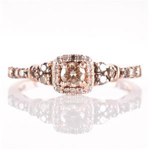 LeVian 14k Strawberry Gold Chocolate Diamond & Diamond Engagement Ring .53ctw