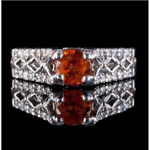 14k White Gold Round Cut Mandarin Garnet Engagement Ring W/ Diamonds 1.33ctw