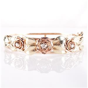 "14k Yellow / Rose / Green Gold Diamond Rose & Leaf Cuff Bracelet 8"" Length 26.9g"