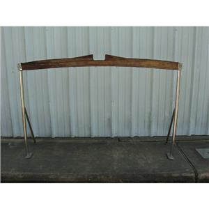 "Boaters' Resale Shop of TX 1709 0147.24 TEAK & STAINLESS 74"" BOOM GALLOWS"