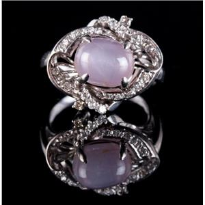 Vintage 1930's 18k White Gold Natural Pink Star Sapphire & Diamond Ring 5.45ctw