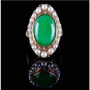 Vintage 1890s 14k Yellow Gold Oval Cut Jade & Natural Pearl Cocktail Ring 7.14ct