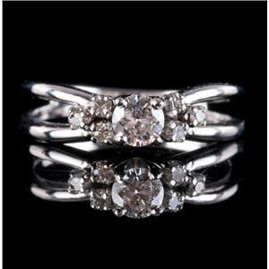 14k White Gold Diamond Split Shank Solitaire Engagement Ring W/ Accents .38ctw