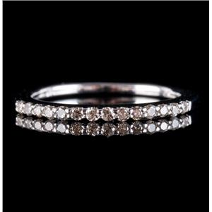 14k White Gold Round Cut Diamond Wedding Anniversary Band / Ring .21ctw