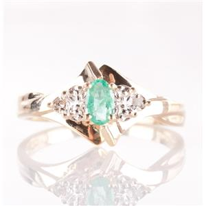 10k Yellow Gold Oval Cut Emerald Solitaire Ring W/ Diamond Accents .17ctw