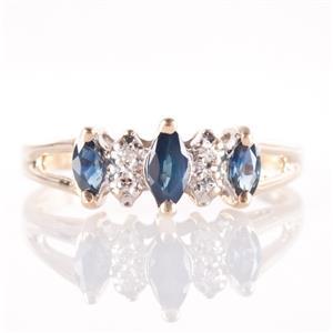 14k Yellow Gold Marquise Cut Sapphire & Single Cut Diamond Ring .33ctw