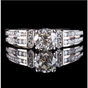 14k White Gold Round Cut Diamond Solitaire Engagement Ring W/ Accents 1.0ctw