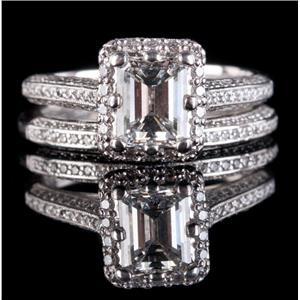 Tacori Platinum Emerald & Round Cut Diamond Engagment / Wedding Ring Set 1.50ctw