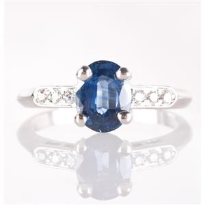 Platinum Sapphire & Diamond Solitaire Engagement Ring W/ Accents 1.40ctw