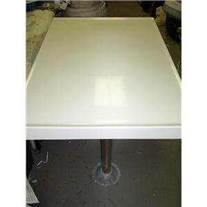 "Boaters' Resale Shop of TX 1709 2174.14 DUAL PEDESTAL 28"" x 40"" FIBERGLASS TABLE"