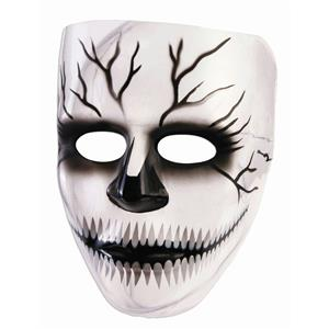 Transparent Creepy Grin Cracked Skull Plastic Adult Mask