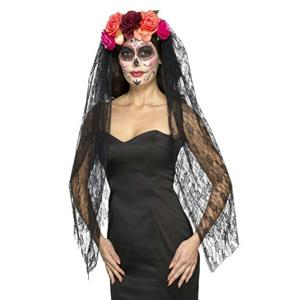 Smiffy's Day of the Dead Headband with Beautiful Floral Roses Costume Accessory
