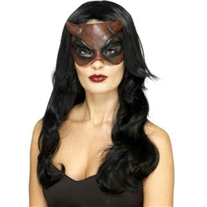 Ladies Latex Halloween Masquerade Devil Eye Mask with attached Horns