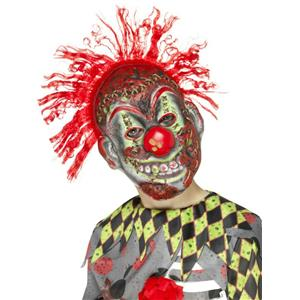 Smiffy's Child Twisted Clown EVA Halloween Costume Mask with Crazy Red Hair