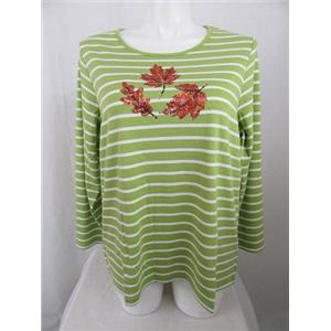 Quacker Factory Size 1X Green Stripe Sequin Leaves Long Sleeve T-Shirt