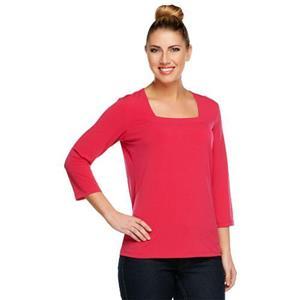 Susan Graver Essentials Size 1X Poppy Red Liquid Knit 3/4 Sleeve Square Neck Top