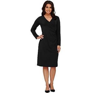 Susan Graver Size XXS Black Dolce Knit Rayon Long Sleeve Faux Wrap Dress