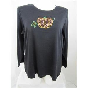 Quacker Factory Size 1X Black w/ Rhinestud Pumpkin Long Sleeve T-Shirt