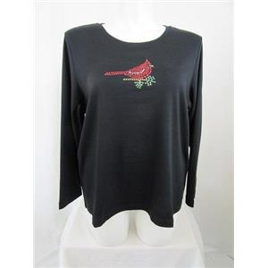 Quacker Factory Size 2X Black w/ Rhinestud Cardinal Long Sleeve T-Shirt