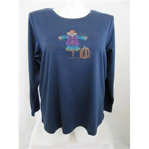 Quacker Factory Size 2X Navy w/ Rhinestud Scarecrow Long Sleeve T-Shirt