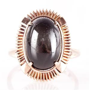Vintage 1930s 14k Rose Gold Oval Cabochon Cut Star Diopside Cocktail Ring 8.65ct