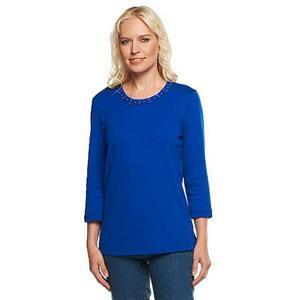 Quacker Factory Size 3X Royal Blue Braided Sparkle 3/4 Sleeve Cotton T-shirt