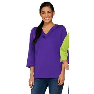Quacker Factory Size 2X Purple 3/4 Sleeve T-Shirt with Sequin Trim