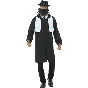 Smiffy's Men's Rabbi Adult Costume Medium Jacket Scarf Hat and Beard