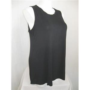 LOGO by Lori Goldstein Size 1X Black Knit Tank w/ Twisted Chiffon Neck Detail