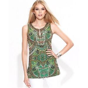 INC International Concepts Woman Size 1X Green Paisley Print Embellished Top