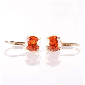 14k Yellow Gold Round Cut Mandarin Garnet Solitaire Dangle Earrings 2.30ctw