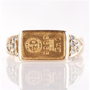 18k Yellow Gold & 1 Gram 24k Pure Swiss Gold Bar Ring W/ Diamond Accents .12ctw