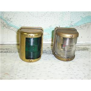 Boaters' Resale Shop of TX 1710 4105.32 PAIR OF BRASS & GLASS NAVIGATION LIGHTS