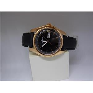 Fossil Watch CS5000 Mens Day/Date Black Dial. Gold Tone Case.Black Leather Strap