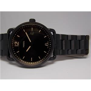 """Fossil Watch FS5277 Mens All Black Bracelet and Case. """"The Commuter""""."""