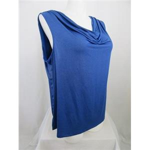 INC International Concepts Woman 3X Blue Shimmering Sleeveless Drape Neck Top