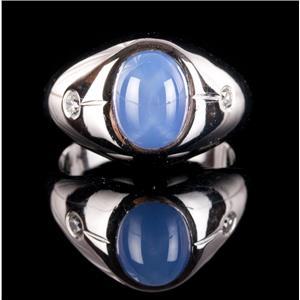 14k White Gold Cabochon Cut Lab Star Sapphire & Diamond Solitaire Ring 3.72ctw